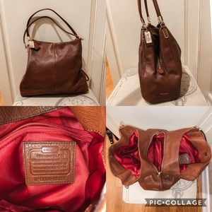 Big brown leather coach bag